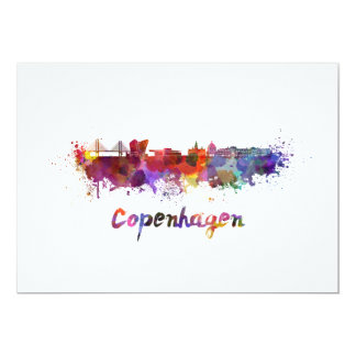Copenhagen skyline in watercolor card