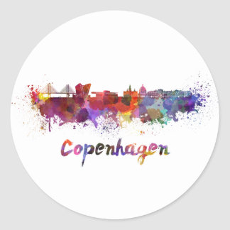 Copenhagen skyline in watercolor classic round sticker