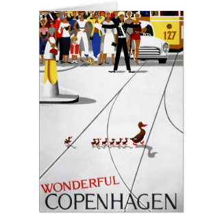Copenhagen Vintage Travel Poster Restored Card