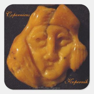 Copernicus CARVED AMBER PORTRAIT Kopernik Square Sticker