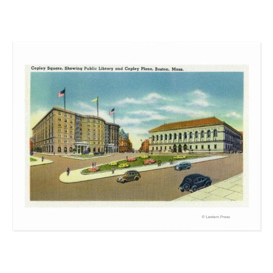 Copley Plaza and Square View of the Public Postcard