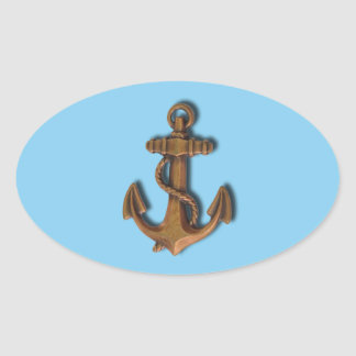 Copper Anchor on Baby Blue Oval Sticker