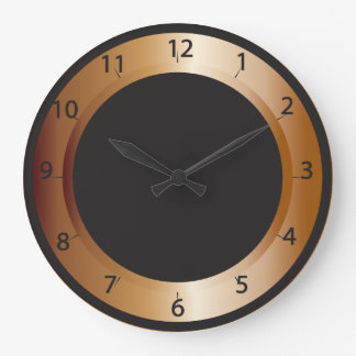 Copper and Black Design Large Clock
