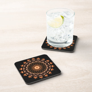 Copper and Black Mandala Pattern 1 Coaster