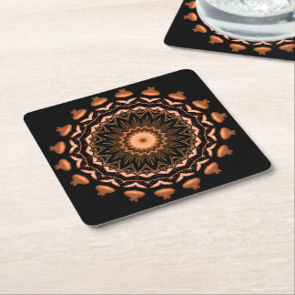 Copper and Black Mandala Pattern 1 Square Paper Coaster