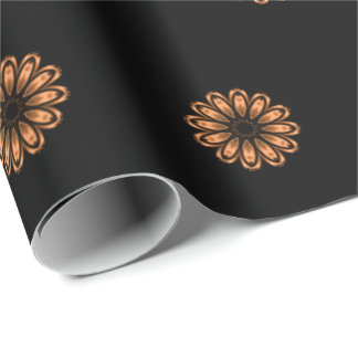 Copper and Black Mandala Pattern 2 Wrapping Paper