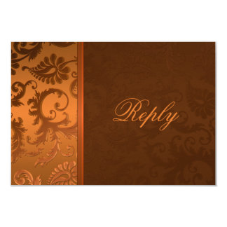 Copper and Brown Damask Reply Card