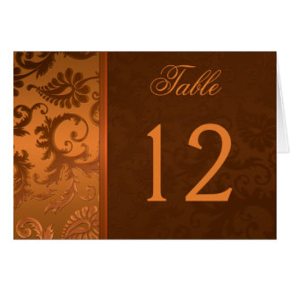 Copper and Brown Damask Table Number Card