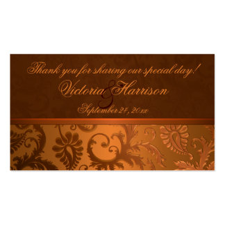 Copper and Brown Damask Wedding Favor Tag Business Card