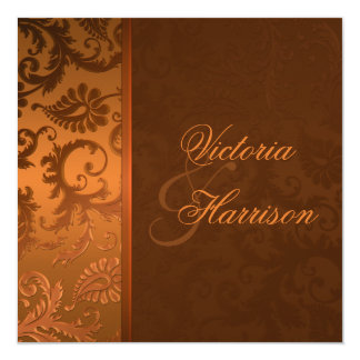 Copper and Brown Damask Wedding Invitation