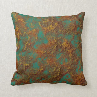Copper and Gold Patina Turquoise Rock Texture Cushion