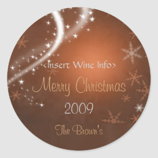 Copper and Gold Personalized Christmas Wine Labels Round Sticker