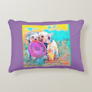 Copper and Penny playing frisbee at park Decorative Cushion