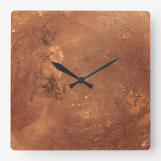 Copper background square wall clock