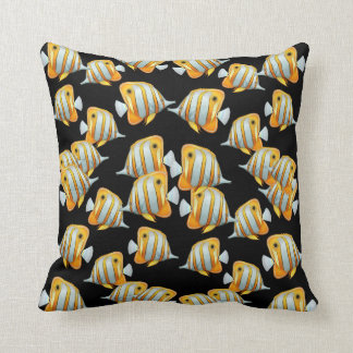 Copper Band Butterfly Fish Black Pillows Throw Cushions