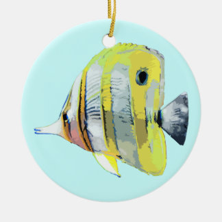 Copper Banded Butterfly Fish Round Ceramic Decoration