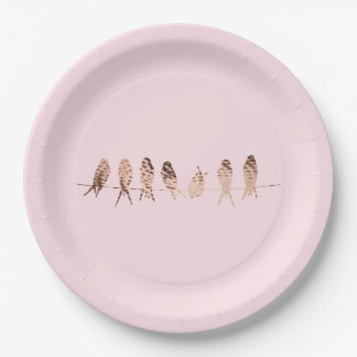 Copper Birds on Wire on Pink | Paper Plates
