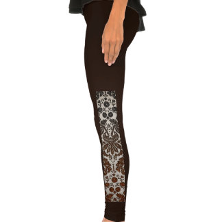 Copper, Black, and Brown Damask Legging Tights