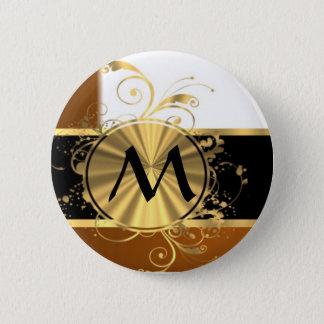 Copper black and gold monogram 6 cm round badge