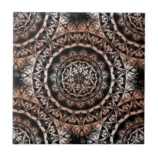 Copper Black  Mandala Pattern Ceramic Tile