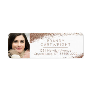 Copper, Blush and Gold Photo Return Address Label