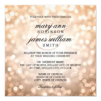 Copper Bokeh Lights Elegant Wedding 13 Cm X 13 Cm Square Invitation Card