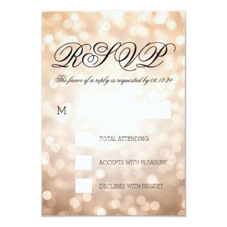 Copper Bokeh Lights Elegant Wedding RSVP 9 Cm X 13 Cm Invitation Card