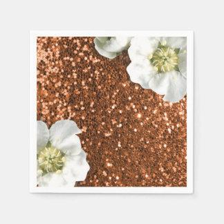 Copper Brown Gold Sparkly Jasmine Glitter Sequin Paper Napkins