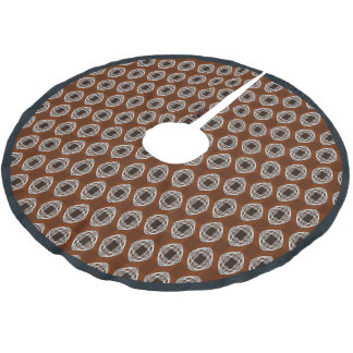 Copper Brown Nouveau Checked Pattern Brushed Polyester Tree Skirt