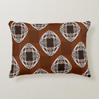 Copper Brown Nouveau Checked Pattern Decorative Cushion