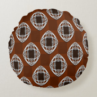 Copper Brown Nouveau Checked Pattern Round Cushion