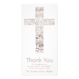 Copper Christian Cross John 14  Sympathy Thank You Card