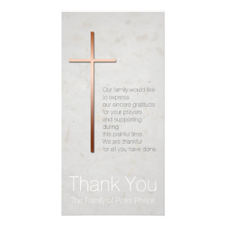 Copper Christian Cross Sympathy Thank You Personalised Photo Card