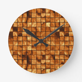 Copper Colored Mosaic Tile Pattern Round Clock