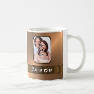 Copper colored photo template basic white mug