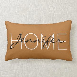 Copper colour home monogram lumbar pillow