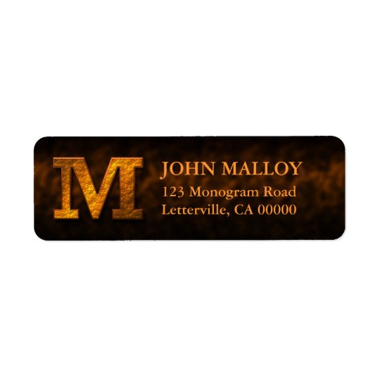 Copper Colour Monogram M Return Address Labels