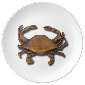 Copper Crab Porcelain Plate