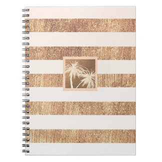 Copper & Cream Tropical Palm Trees Modern Chic Notebook