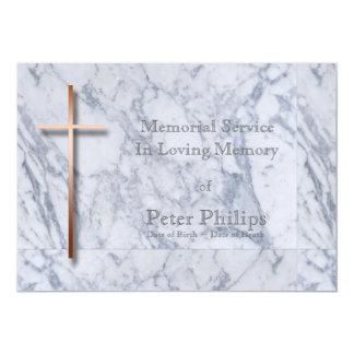 Copper Cross Marble 1 Memorial Service Card