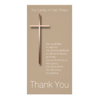 Copper Cross Sympathy Thank You Choose Color 2 Photo Card Template