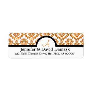 Copper Damask Monogram Labels {not metallic}