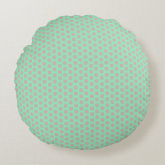Copper Dots Mint Green Round Pillow