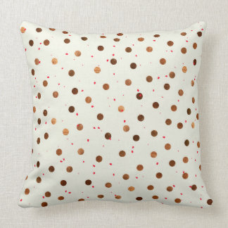 Copper Dots With Red Hint Pattern Throw Pillow