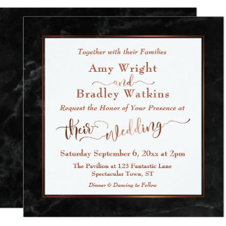 Copper Elegant Script w/ Black Marble | Wedding Card