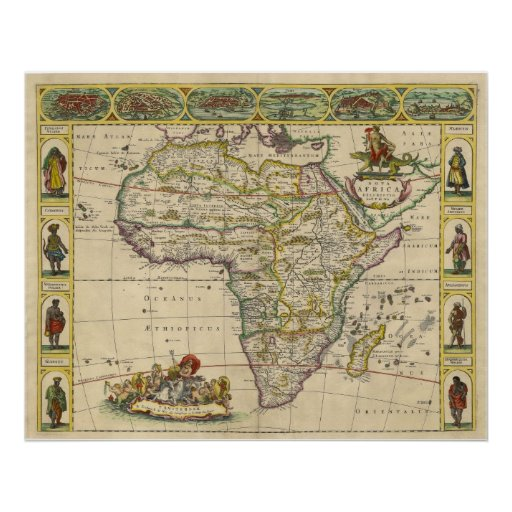 Copper Engraved Map of Continental Africa in 1660 Poster