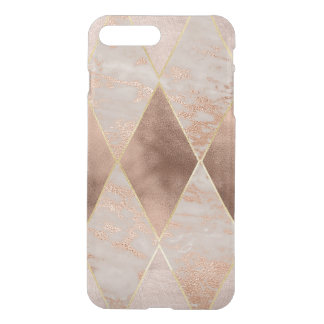 Copper Foil and Blush Rose Gold Marble Triangles iPhone 8 Plus/7 Plus Case
