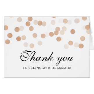 Copper Foil Glitter Lights Thank You Bridesmaid Card