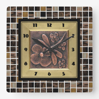 Copper Glass Tiles Square Wall Clock