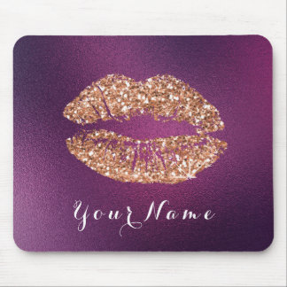 Copper Glitt Purple Amethyst Name Makeup Lips Kiss Mouse Pad